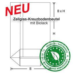 Zellglas Kreuzbodenbeutel mit Biolack